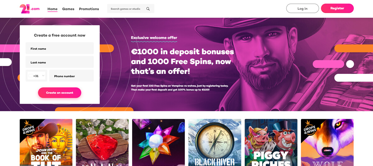 21.com Casino homepagina