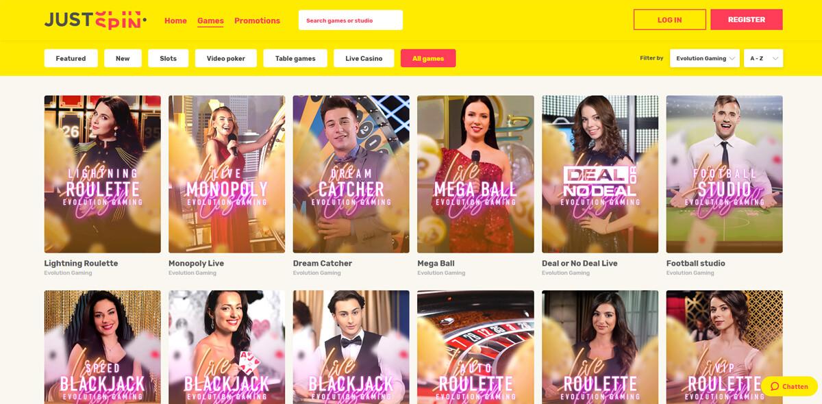 Justspin Casino live spellen pagina