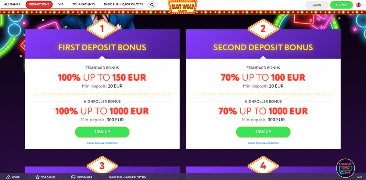 SlotWolf casino bonussen