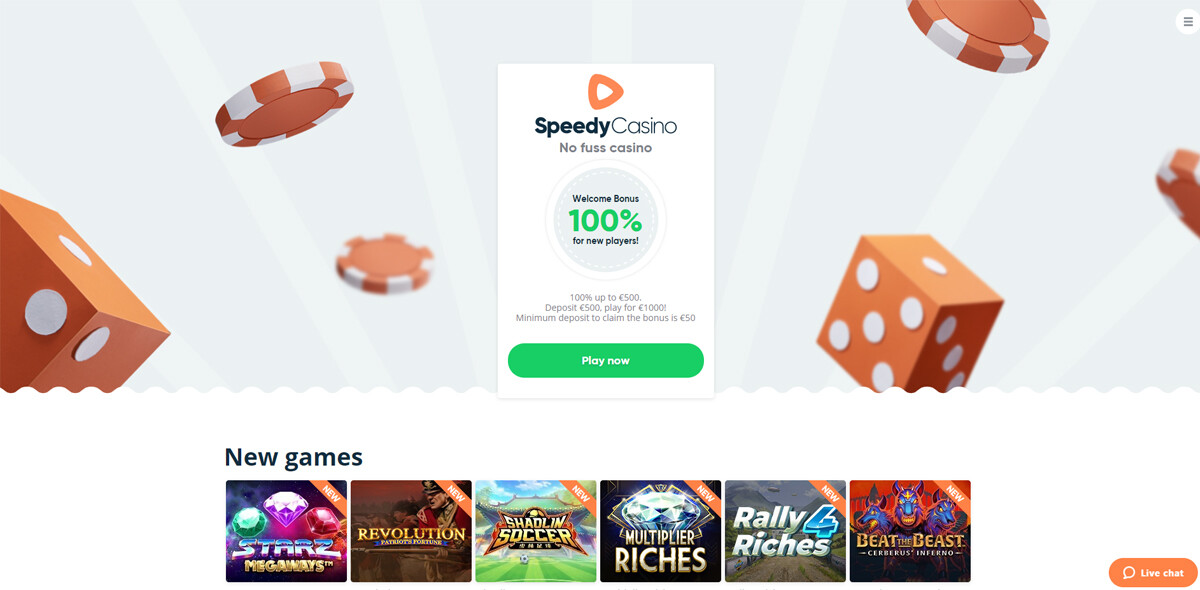 Speedy Casino homepagina