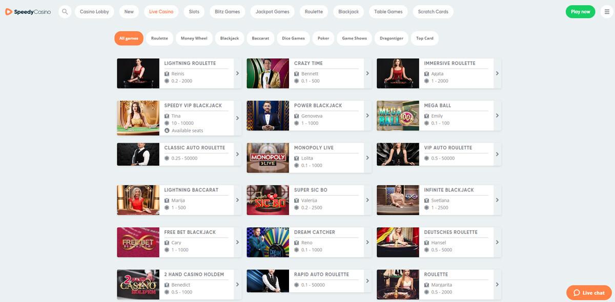 Speedy Casino live spellen pagina