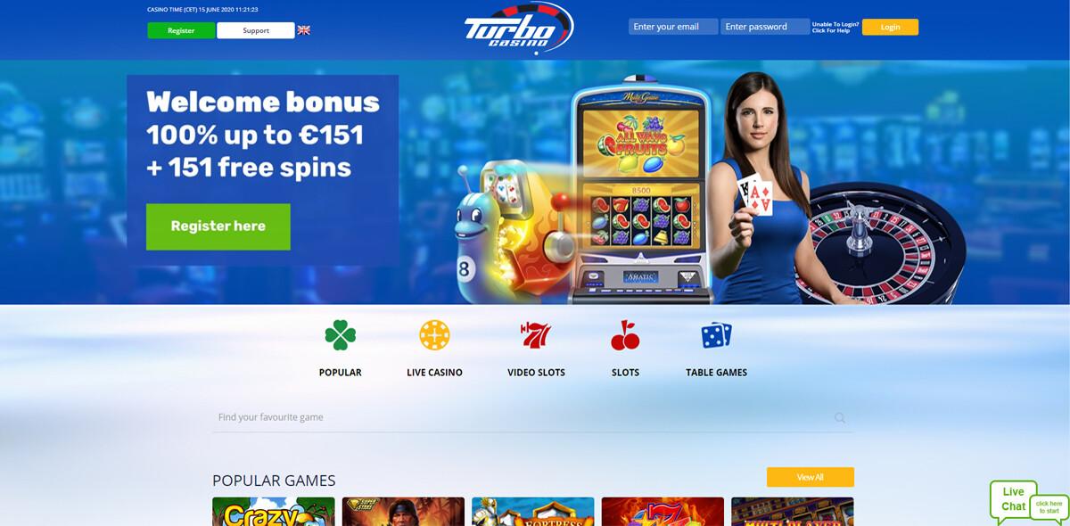 Turbo Casino homepagina