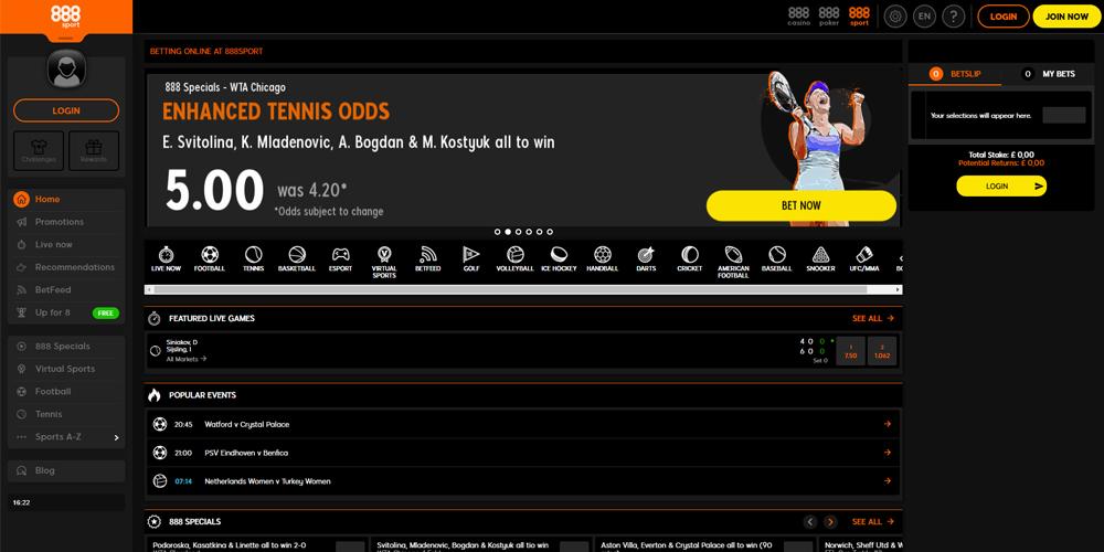 888 casino wedden op sport