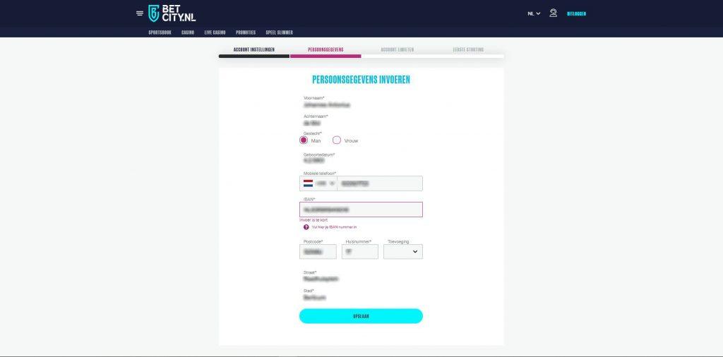 gegevens invullen bij registratie